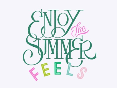 Enjoy the Summer Feels rainbow summer drawing procreate handlettering lettering typography design