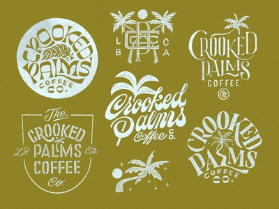 Crooked Palms Coffee Co. typography badge logo design logo branding handlettering lettering design