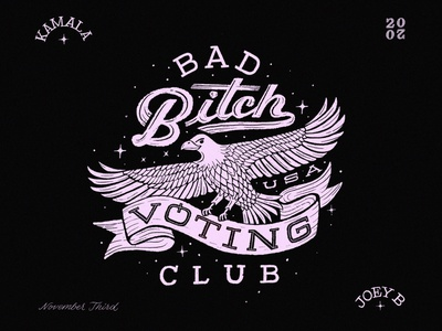 Bad Bitch Voting Club eagle usa election handlettering illustration lettering branding procreate typography design
