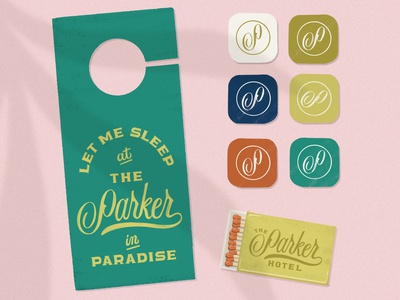 The Parker Hotel Branding vacation color palette hotel logo logo design procreate handlettering lettering typography design branding