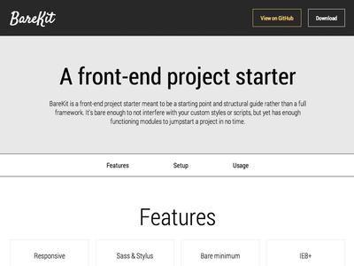 BareKit framework responsive landing page demo site