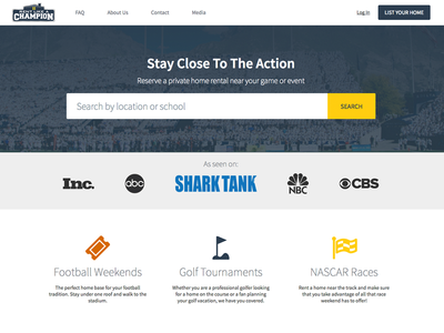 Rent Like a Champion web application shark tank website rentals web app
