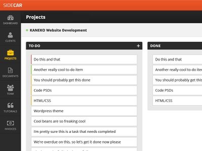 New Sidecar UI ui application interface project management