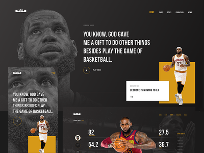 WIP: WEB page design for LeBron James fans. sportdesign design web lebronejames mobile uxdesign lucasagency basketball sport ui webdesign