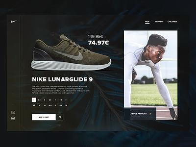 Product page for Lunarglide 9 sport sneackers webdesigner lukasrasciauskas lucasagency webdesign web uxdesign ux ui uidesign nike