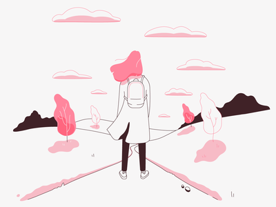 All the pleasures of traveling alone - May lineart field alone spring may traveling pink hair vector minimalistic illustration flat