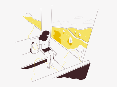 All the pleasures of traveling alone - July train alone summer travelling traveling july lineart vector minimalistic illustration flat
