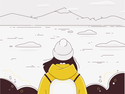 All the pleasures of traveling alone - November november autumn calm yellow travelling traveling lineart alone vector minimalistic illustration flat