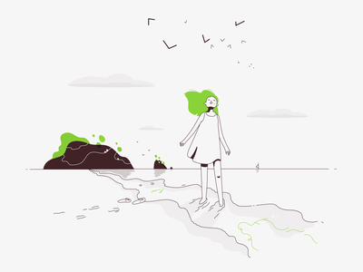 All the pleasures of traveling alone - August ocean seaside summer travelling green traveling lineart alone vector minimalistic illustration flat august
