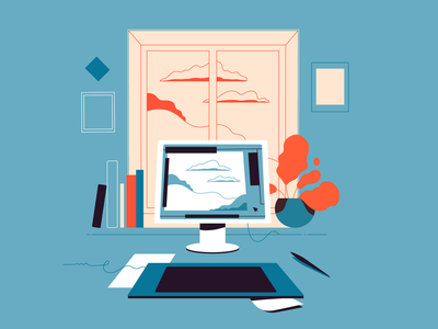 Workplace illustrator window workplace place work lineart vector minimalistic illustration flat