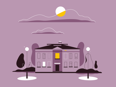 Night House night house architecture lineart vector minimalistic illustration flat
