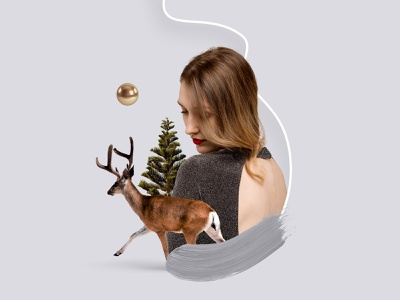Christmas collage abstract delicate delicate collage deer winter collage winter christmas collage christmas collage