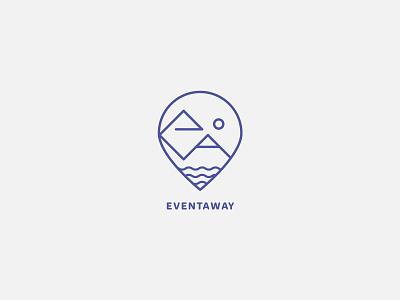 Eventaway logo sunset blue logo travel agency event logo travel logo simple logo logo design logo