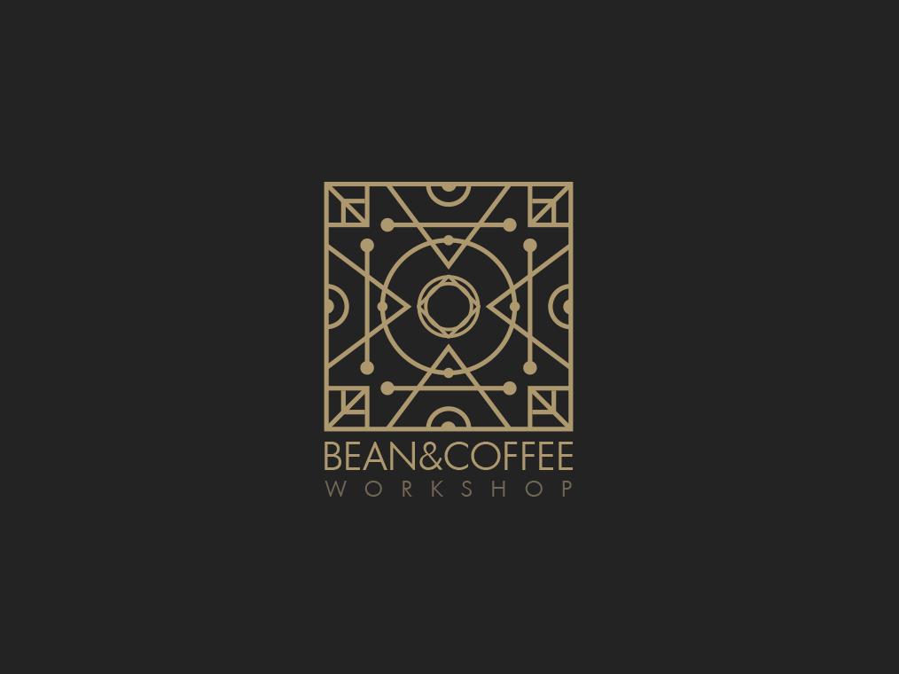 Bean&Coffee Workshop symetrical logo intricate gold logo gold coffee logo vector logo design logo