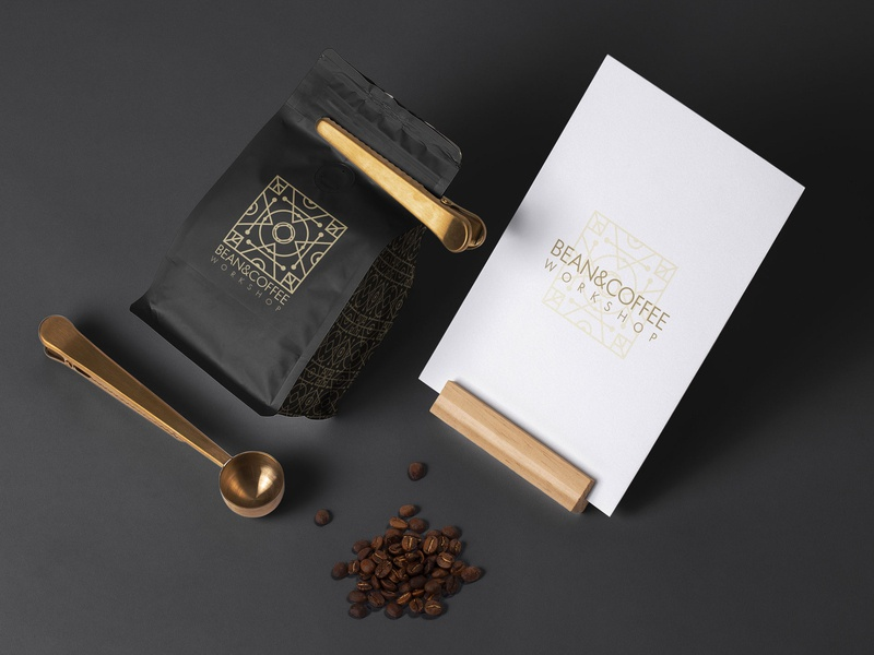 Bean&Coffee Workshop mockup coffee gold logo branding logo design logo