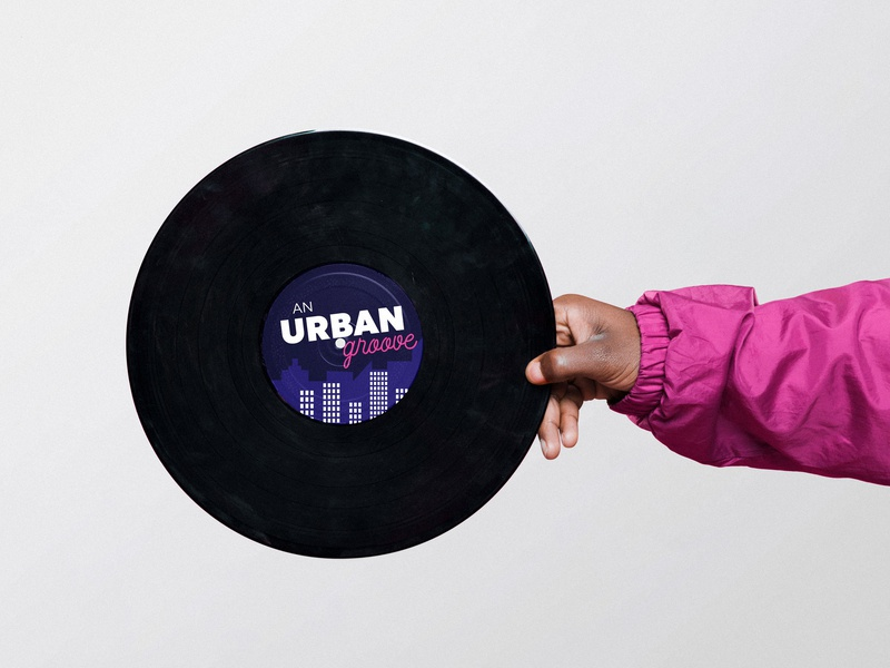 An Urban Groove vinyl groove violet cityscape music artwork cover artwork cover design cover art