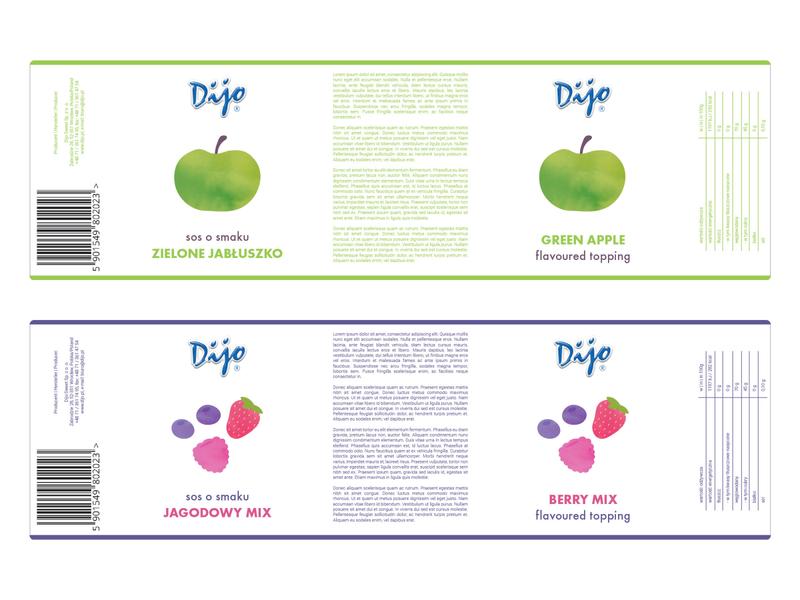 Dijo labels concept raspberry strawberry packaging design food packaging minimal packaging minimal label minimal fruit illustration fruit sweet sauce food label label design label bottle label berries apple