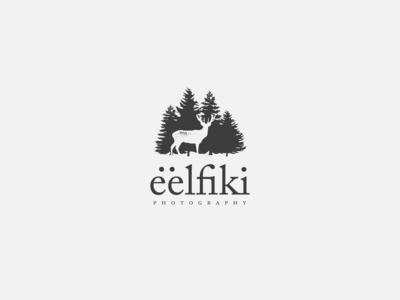 Eelfiki logo monochromatic logo animal logo woods forest delicate deer logo deer elves elf logo design logotype logo