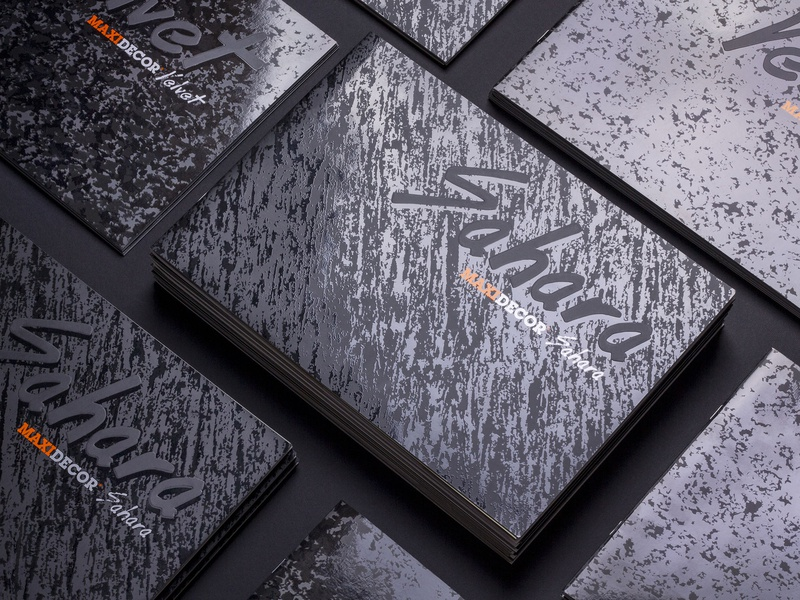 MAXIMA | Maxidecor Sahara&Velvet book effects paint texture wall spot uv fandeck hotstamping book cover branding design vector typography illustration