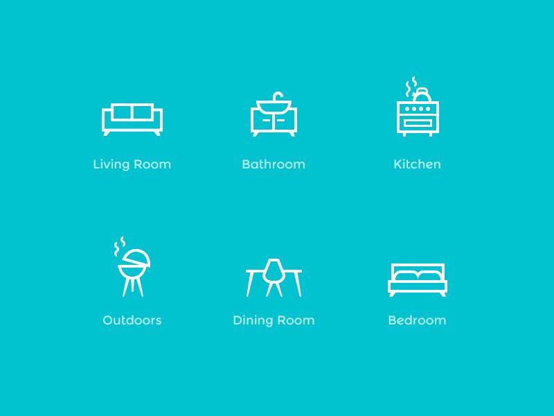 Home Icons icons interior design illustration line. outline furniture