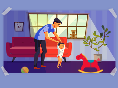 "Illustration for childrens book. ""Dad, I am going!"" vector web illustration illustrator flat design art"
