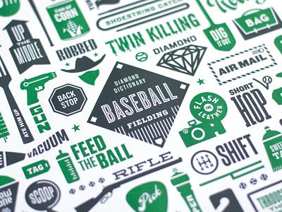 Diamond Dictionary of Fielding diamond dictionary sports green fielding gun baseball illustration typography vector slang letterpress