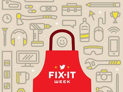 Fix-It Week apron twitter fix week pattern illustration tools hardware tech poster smile