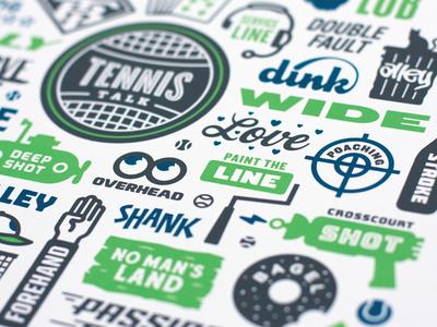 Tennis Talk screenprint green talk trophy shot ball typography illustration sports court racket tennis