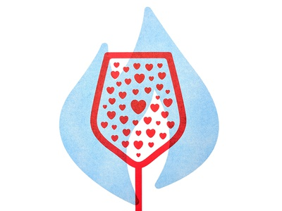 Wine Country Fires poster risograph california donate hearts flame poster fire wine
