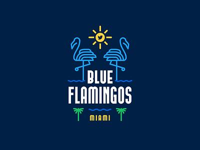 Twitter Miami typography art deco neon palm tree flamingos miami twitter