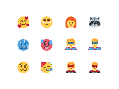 Faces of Unicode 11 supervillain superhero raccoon redhead woozy face party face cold face hot face illustration faces emoji twitter