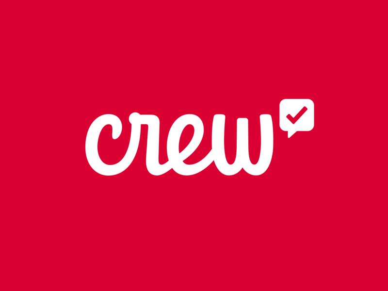 New Crew Logo app branding check mark crew script typography logo