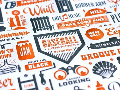 Pitching Slang baseball illustration typography pitching slang orange gray