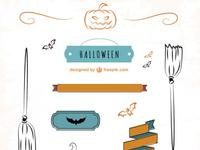 Ribbons labels halloween set