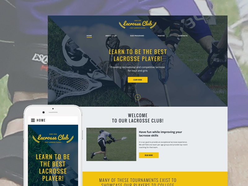Lacrosse Club Website Template By Templatemonster On Dribbble