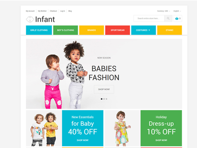 Infant Magento Theme store clothes infant online shop magento theme