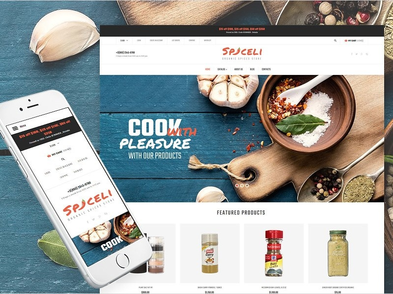 Spice Shop Responsive VirtueMart Template with 50% Discount responsive design spice shop restaurant food virtuemart ecommerce
