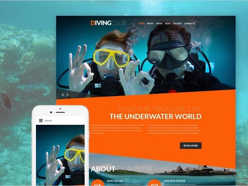 Diving Responsive Joomla Template Outdoors Sports
