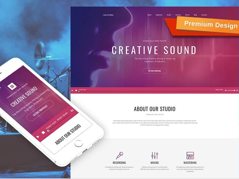 Recording Studio Premium Moto Cms 3 Template By Templatemonster