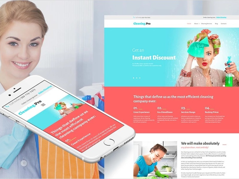 Cleaning Responsive Moto Cms 3 Template By Templatemonster