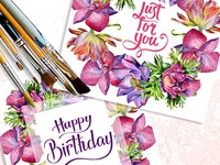 Mix of Flowers PNG Watercolor Set Illustration