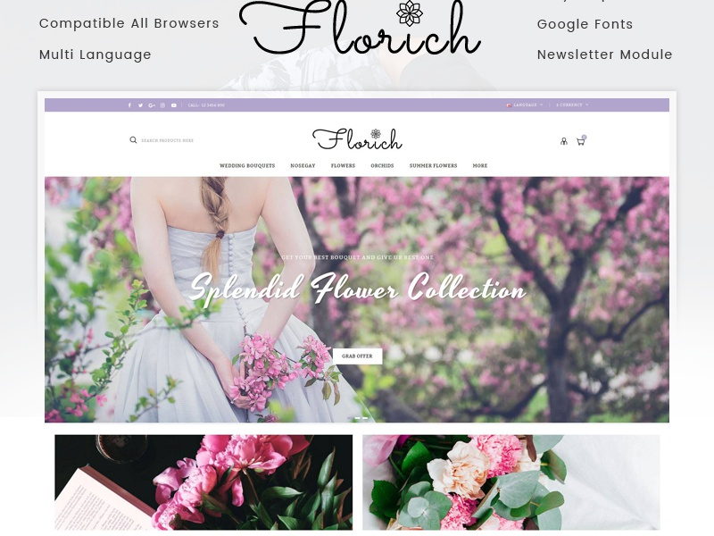 Florich - Wedding Flowers Store OpenCart Template by