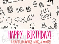 Birthday Party 55 Vector Line Art Sketches Illustration