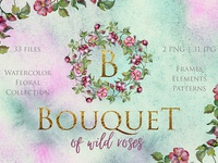Bouquet of Wild Roses Watercolor png Illustration