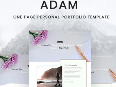 Adam - Personal Portfolio Landing Page Template #82890 website webdesign html5 portfolio template landing page portfolio