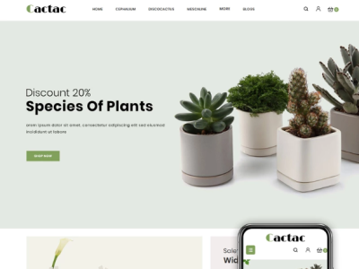 Cactac - Plant Shop OpenCart Template $67 webdesign website web development opencart template opencart plant template plant shop