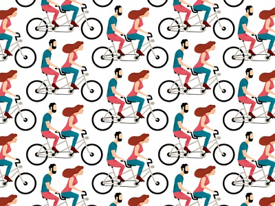 Tandem character design digital illustration pattern adobe illustrator bicycle tandem illustration
