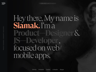 Siamak.me (WIP) minimal presentation branding clean dark animation typography ux ui website horizontal scroll parallax react landing page portfolio website portfolio