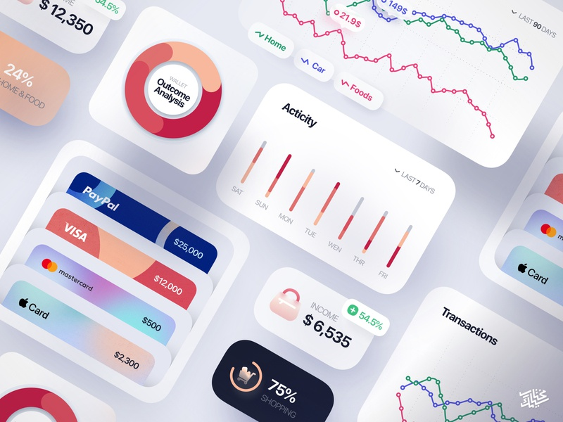 Freebie — Finance Interface Elements ux ui uikit paypal mobile minimal piechart illustration icons icon freebie free elements download card credit card clean charts chart app