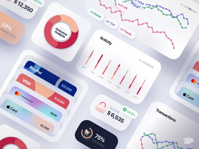 Freebie — Finance Interface Elements ux ui uikit paypal mobile minimal piechart illustration icons icon freebie free elements download card credit card clean charts chart app